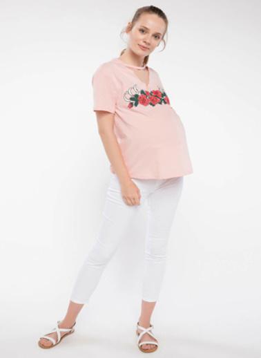 DeFacto Choker Detaylı Baskılı Hamile T-shirt Pembe